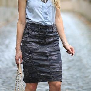 LOFT Grey Camouflage Camo Pencil Skirt